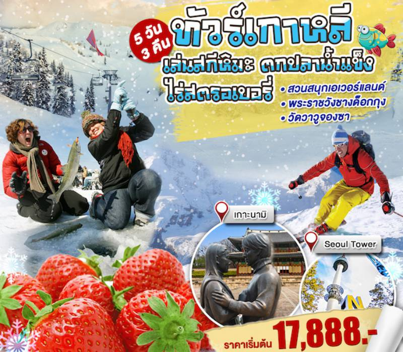KW47h ทัวร์เกาหลี สกีหิมะ เทศกาลตกปลาน้ำแข็ง 5 วัน 3 คืน โดยสายการบิน โดย ZE, TW, LJ, 7C