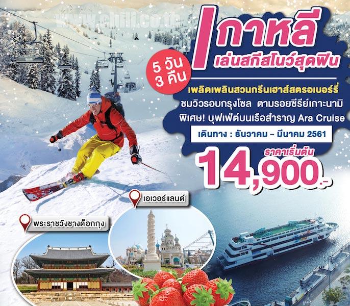 KP08j ทัวร์เกาหลี สุดฟินเทศกาลหิมะ ล่องเรือหรู Ara Cruise เที่ยวกรุงโซล เกาะนามิ สะพานลอยฟ้า Seoullo 7017 5 วัน 3 คืน โดย ZE, TW, LJ, 7C