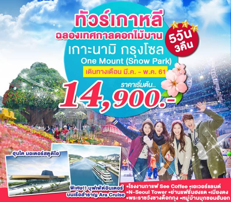 ทัวร์เกาหลี ฉลองเทศกาลดอกไม้บาน เที่ยวกรุงโซล เกาะนามิ One Mount (Snow Park) สุดฟิน!! เรือสำราญสุดหรู 5 วัน 3 คืน โดย ZE, TW, LJ, 7C