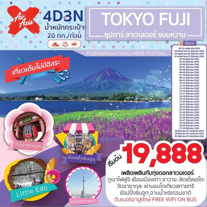 โตเกียว ฟูจิ ซาวาระ ทุ่งลาเวนเดอร์ 4 วัน 3 คืน โดยสายการบิน Air Asia x