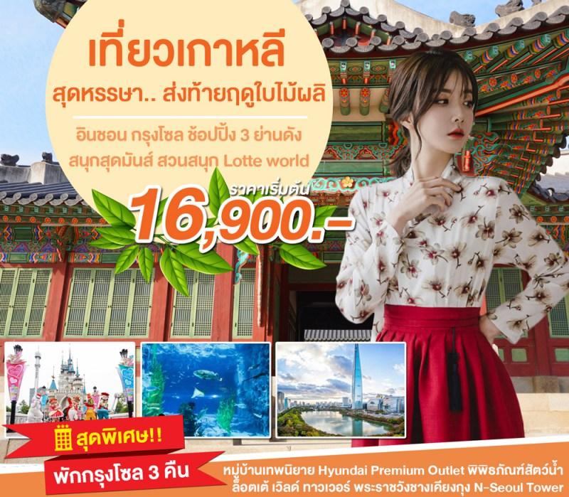 ทัวร์เกาหลี.. สุดหรรษา ส่งท้ายฤดูใบไม้ผลิ อินชอน กรุงโซล ช้อปปิ้ง 3 ย่านดัง สนุกสุดมันส์ สวนสนุก Lotte world 5 วัน 3 คืน โดยสายการบิน Jin Air