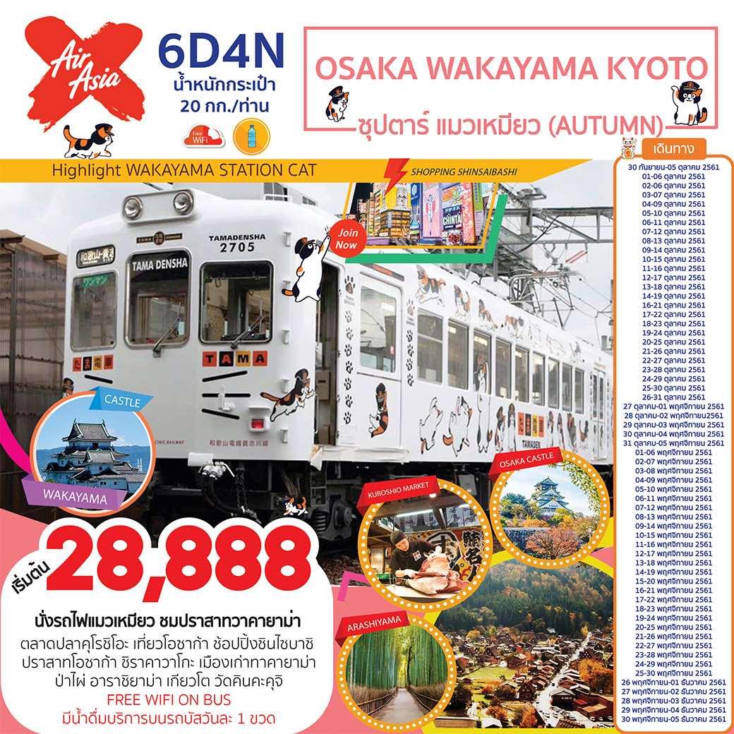 ทัวร์ญี่ปุ่น โอซาก้า เกียวโต วาคายาม่านั่งรถไฟแมวเหมียว ใบไม้เปลี่ยนสี 6 วัน 4 คืน โดยสายการบิน  AIR ASIA X (XJ)