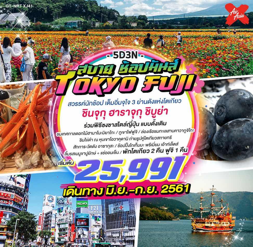 ทัวร์ญี่ปุ่น โตเกียว เที่ยวเต็ม ล่องเรือ ชิมไข่ ชมดอกไม้แสนสวยตามฤดูกาล ช้อปปิ้งย่านดัง 5 วัน 3 คืน โดยสายการบินไทยแอร์เอเชียเอ็กซ์