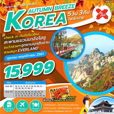 ทัวร์เกาหลี เส้นทางใหม่ โซล อุทยานแห่งชาติบุคฮันซาน สะพานแขวนมาจังโฮซู 5 วัน 3 คืน โดยสายการบิน Air Asia X