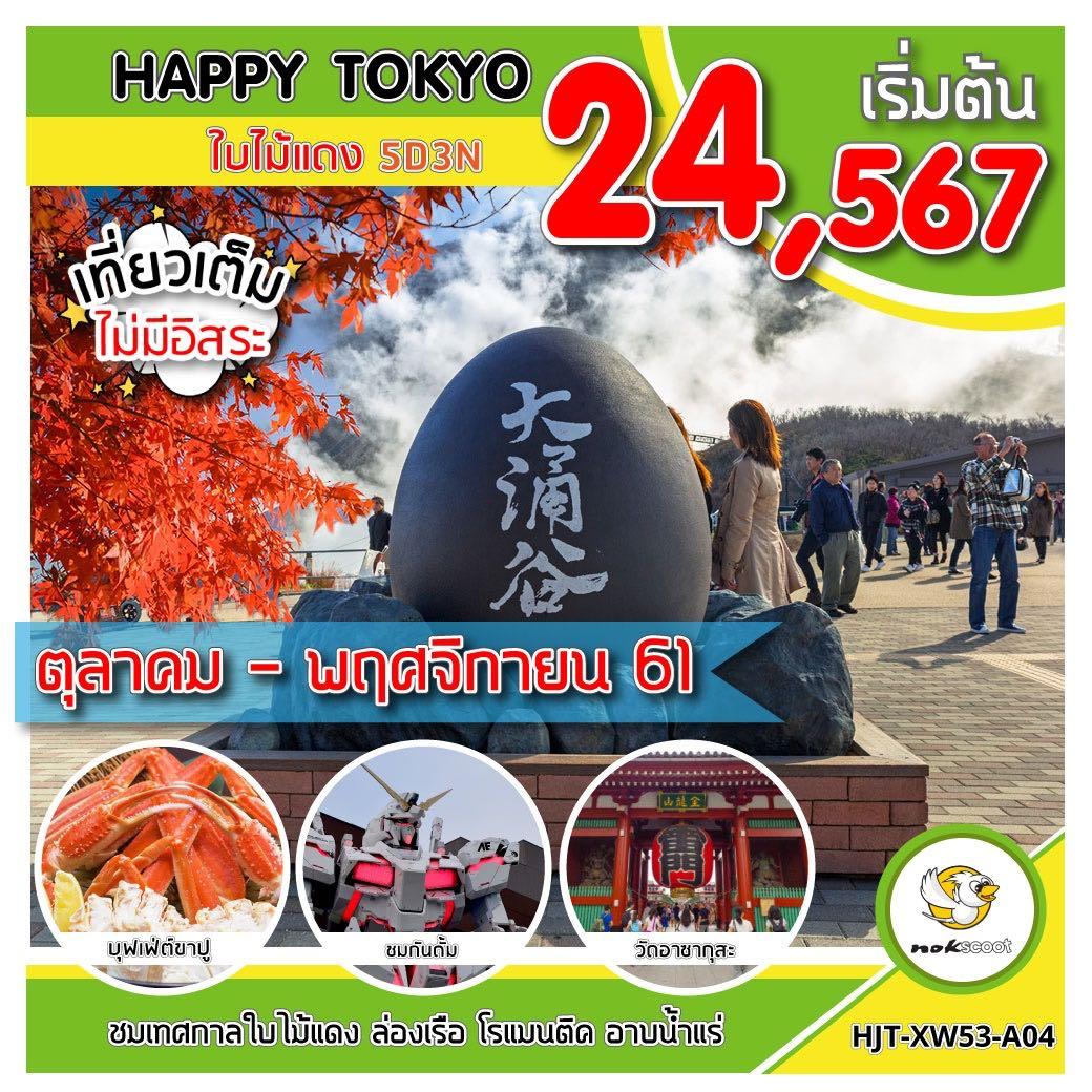 ทัวร์ญี่ปุ่น โตเกียว ฟูจิ ใบไม้เปลี่ยนสี ล่องเรือโจรสลัด หุบเขาโอวาคุดานิ เที่ยวเต็มไม่มีวันอิสระ 5 วัน 3 คืน โดยสายการบิน NOKSCOOT