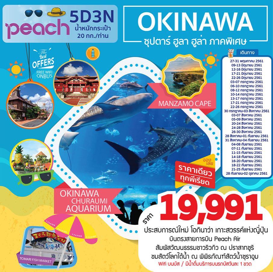 ทัวร์ญี่ปุ่น โอกินาวา พิพิธภัณฑ์สัตว์น้ำชุราอูมิ ศาลเจ้านามิโนะอุเอะ ปราสาทชูริ 5 วัน 3 คืน โดยสายการบิน Peach Air (MM)
