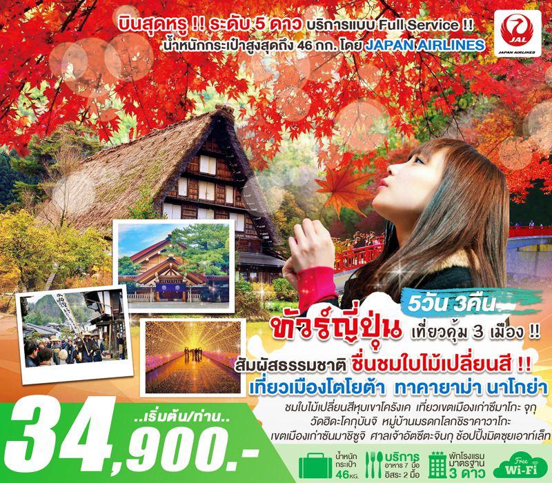 ทัวร์ญี่ปุ่น ชมใบไม้เปลี่ยนสี !! นาโกย่า โตโยต้า ชมหุบเขาโครังเค เที่ยวเมืองเก่าซึมาโกะจุกุ ทาคายาม่า หมู่บ้านชิราคาวาโกะ เทศกาล Nabana no Sato 5 วัน 3 คืน โดยสายการบิน Japan Airlines (JL)