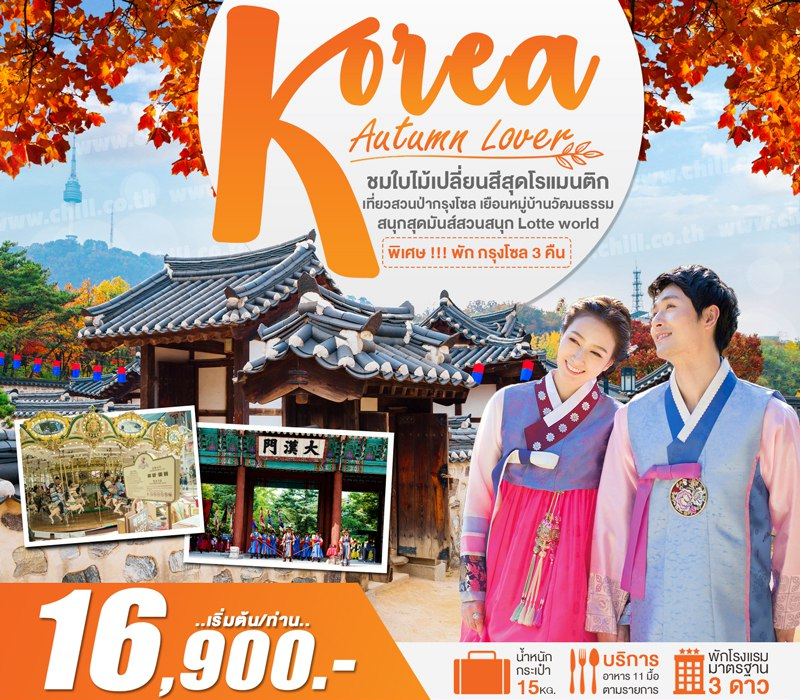 ทัวร์เกาหลี เที่ยวสวนป่ากรุงโซล ชมใบไม้เปลี่ยนสีสุดโรแมนติก เยือนหมู่บ้านวัฒนธรรม สนุกสุดมันส์สวนสนุก Lotte world 5 วัน 3 คืน โดยสายการบิน Jin Air (LJ)