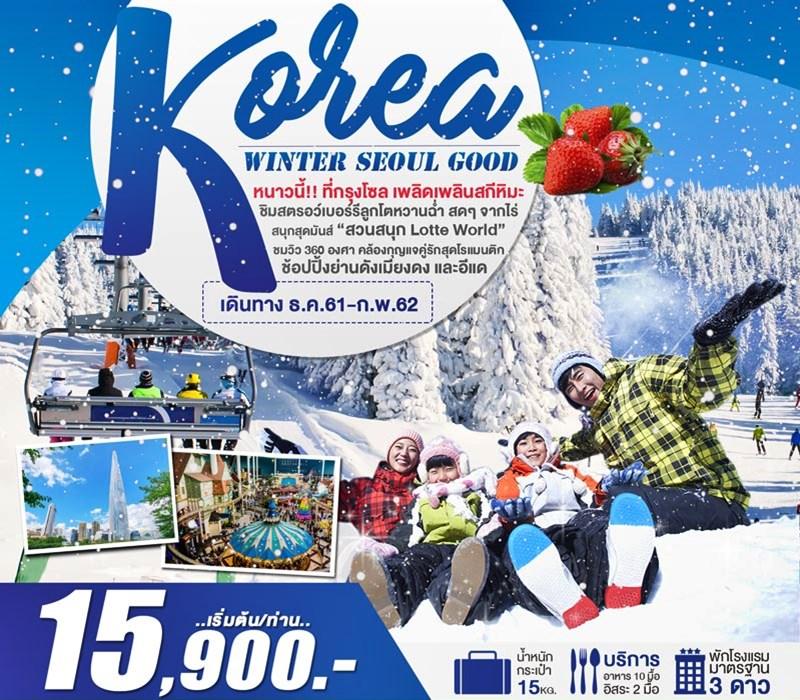 ทัวร์เกาหลี เที่ยวกรุงโซล เล่นสกีสุดมันส์ สัมผัสหิมะฤดูหนาว สุดฟินชิมสตรอว์เบอร์รีสดๆ จากไร่ 6 วัน 3 คืน โดยสายการบิน Air Asia X (XJ)