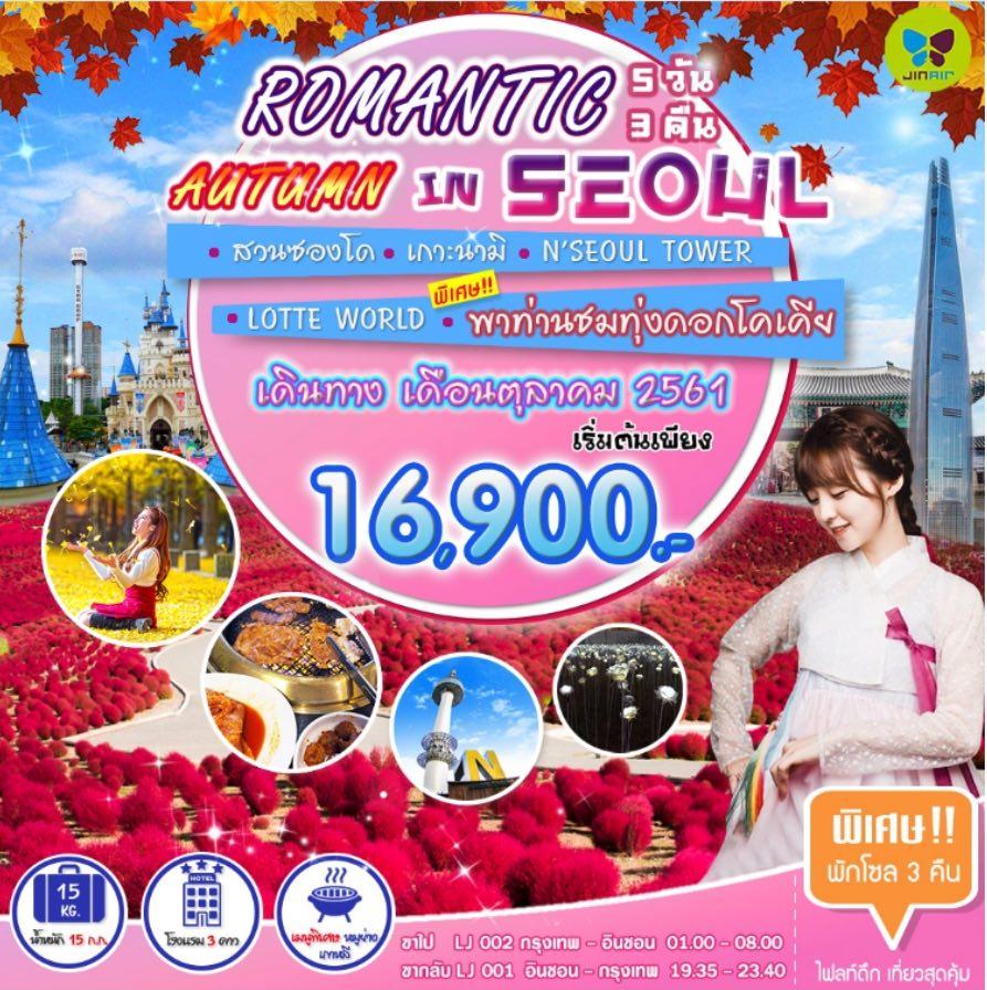 ทัวร์เกาหลี เที่ยวกรุงโซล เยือนเกาะนามิ ชมสวนยางจูนาริ สุดโรแมนติก N'SEOUL TOWER 5 วัน 3 คืน โดยสายการบิน Jin Air (LJ)