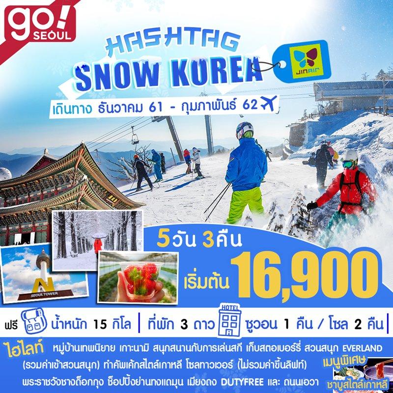 ทัวร์เกาหลี อินชอน ซูวอน กรุงโซล ตามรอยซีรีย์เกาะนามิ เล่นสกีสุดมันส์ เพลิดเพลินสวนสนุกเอเวอร์แลนด์ คล้องกุญแจคู่รัก N-Seoul Tower 5 วัน 3 คืน โดยสายการบิน Jin Air (LJ)