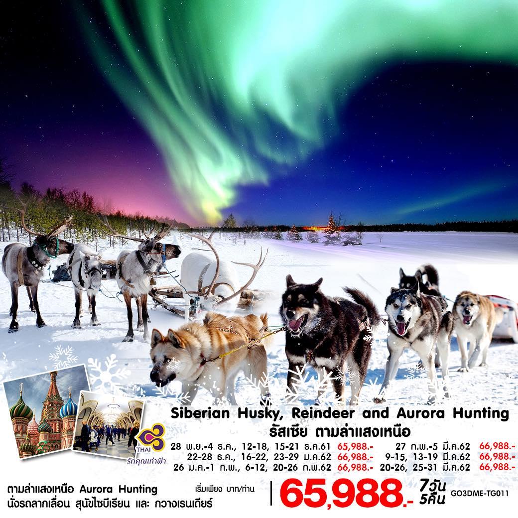 เที่ยวรัสเซียล่าแสงเหนือ ฟาร์มสุนัขพันธุ์ฮัสกี้ นั่งรถเทียมกวางเรนเดียร์ลากเลื่อน วิหารเซนต์บาซิล 7 วัน 5 คืน โดยสายการบิน Thai (TG)