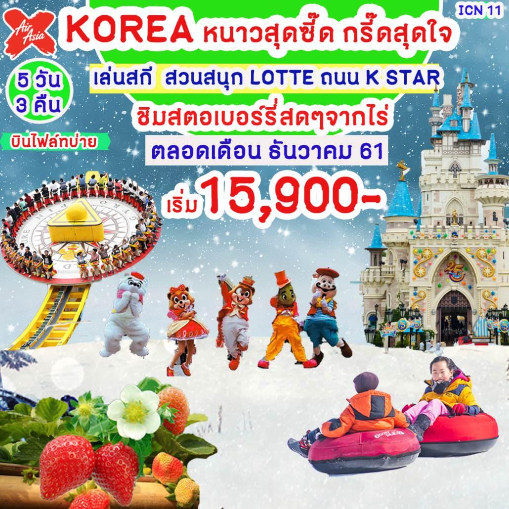 ทัวร์เกาหลี โซล เกาะนามิ Hallyu K-Star สวนสนุก ล็อตเต้ เวิลด์ ไร่สตรอว์เบอร์รี ลานสกี 5 วัน 3 คืน โดยสายการบิน แอร์เอเชียเอ็กซ์ (XJ)