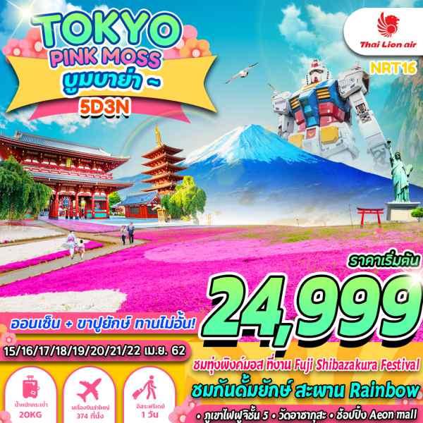 ทัวร์ญี่ปุ่น โตเกียว เทศกาลดอกพิงค์มอส ภูเขาไฟฟูจิ วัดอาซากุสะ อิสระฟรีเดย์ วัน 5 วัน 3  คืน โดยสายการบิน  Thai Lion Air (SL)