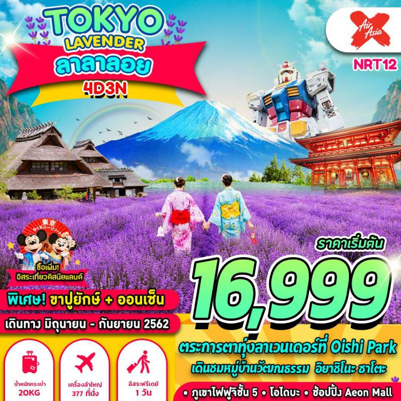ทัวร์ญี่ปุ่น โตเกียว ฟูจิ หมู่บ้านวัฒนธรรม ทุ่งลาเวนเดอร์ อิยาชิโนะ ซาโตะ ภูเขาไฟฟูจิ โอไดบะ 4 วัน 3 คืนโดยสายการบิน AIR ASIA (XJ)