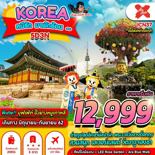 ทัวร์เกาหลี โซล ยงอิน เอเวอร์แลนด์ ฮานึลปาร์ค พระราชวังชางด๊อกกุง ช้อปปิ้งเมียงดง ARA BLUE WALK  5 วัน 3 คืน โดยสายการบิน Ais Asia X (XJ)