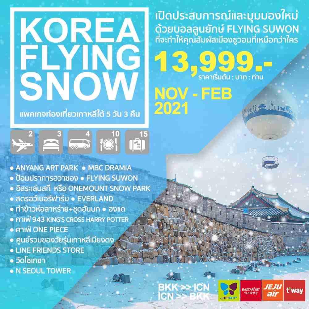ทัวร์เกาหลีโซลฤดูหนาวสุดฟิน ตะลุยลานสกีหิมะ สวนสนุกเอเวอร์แลนด์ ชมสวนศิลปะอันยาง ช้อปปิ้งย่านฮงแด เมียงดง 5 วัน 3 คืน โดยสายการบิน  EASTAR JET / JEJU AIR / JIN AIR / T'WAY