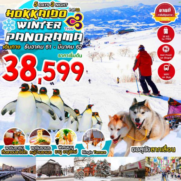 ทัวร์ญี่ปุ่นฤดูหนาว ฮอกไกโด สนุกสุดมันส์ลานสกีชิกิไซ เที่ยวเต็มไม่มีอิสระ 5 วัน 3 คืน สายการบินไทยแอร์เวย์
