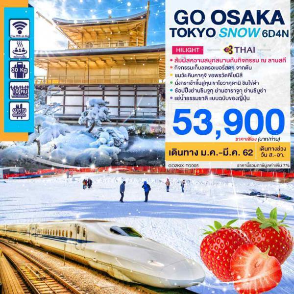 ทัวร์ญี่ปุ่น โอซาก้า เกียวโต นั่งรถไฟชินคันเซน เล่นสกีฤดูหนาว 6 วัน 4 คืน โดยสายการบินไทย