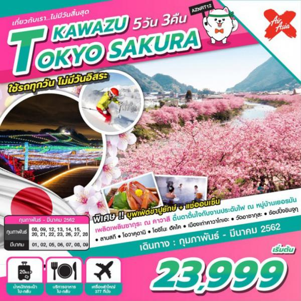 ทัวร์ญี่ปุ่น โตเกียว ซากุระ ลานสกี หุบเขาโอวาคุดานิ เมืองเก่าคาวาโกเอะ ชินจูกุ 5 วัน 3 คืน โดยสายการบิน AIR ASIA X