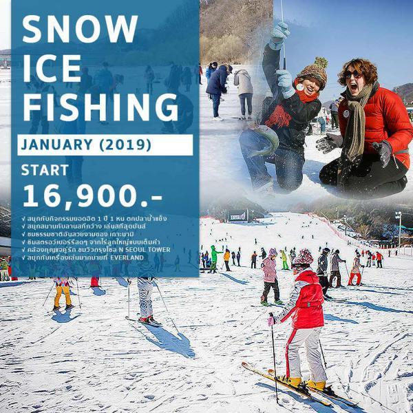 ทัวร์เกาหลี ตามรอยซีรีย์เกาะนามิ ชมเทศกาลตกปลาน้ำแข็ง ตะลุยสกีหิมะ เที่ยวกรุงโซล ช้อปปิ้งสุดฟิน!! ย่านดังเมียงดง, ทงแดมุน ชม Fantastic Show 5 วัน 3 คืน โดยสายการบิน ZE, TW, LJ, 7C