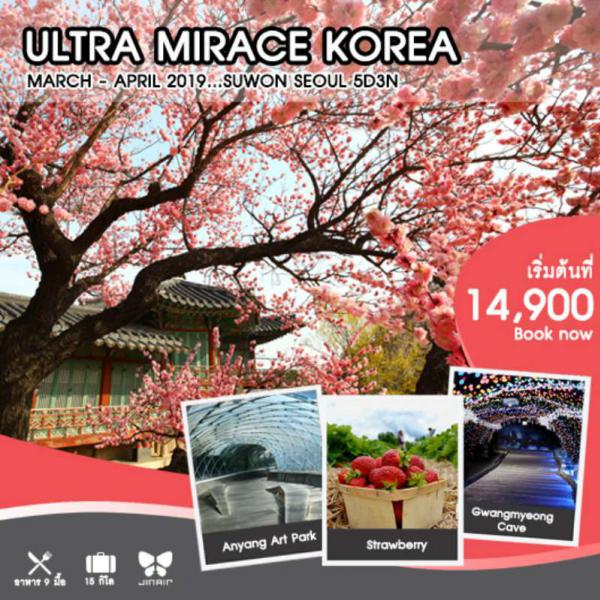 ทัวร์เกาหลี โซล เยือนสวนศิลปะสุดฮิป Anyang Art Park สนุกสนานกับเครื่องเล่นที่สวนสนุกเอเวอร์แลนด์  สวมชุดฮันบกเดินชมพระราชวังเคียงบกกุง พาชมเทศกาลดอกพ็อดกต 5 วัน 3 คืน โดยสายการบิน Jin Air