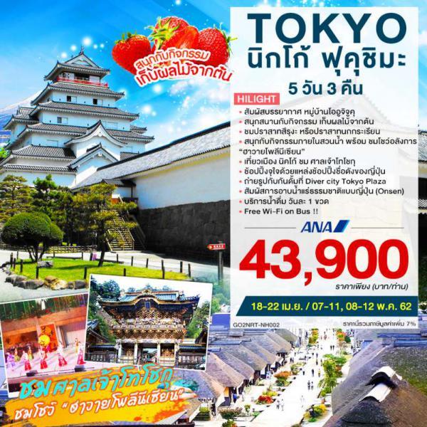 ทัวร์ญี่ปุ่น โตเกียว นิกโก้ ฟุคุชิมะ ชมปราสาทสึรุงะ ศาลเจ้าโทโชกุ เยือนหมู่บ้านโออูจิจูคุ  ชมโชว์อลังการฮาวายโพลีนีเซียน 5 วัน 3 คืน โดยสายการบินออลนิปปอน (NH)
