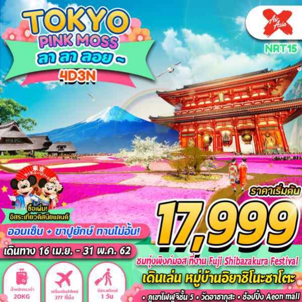 ทัวร์ญี่ปุ่น โตเกียว ซากุระ ภูเขาไฟฟูจิ ทุ่งพิงค์มอส อิสระ 1 เต็มวัน 4 วัน 3 คืน โดยสายการบิน Air Asia X (XJ)