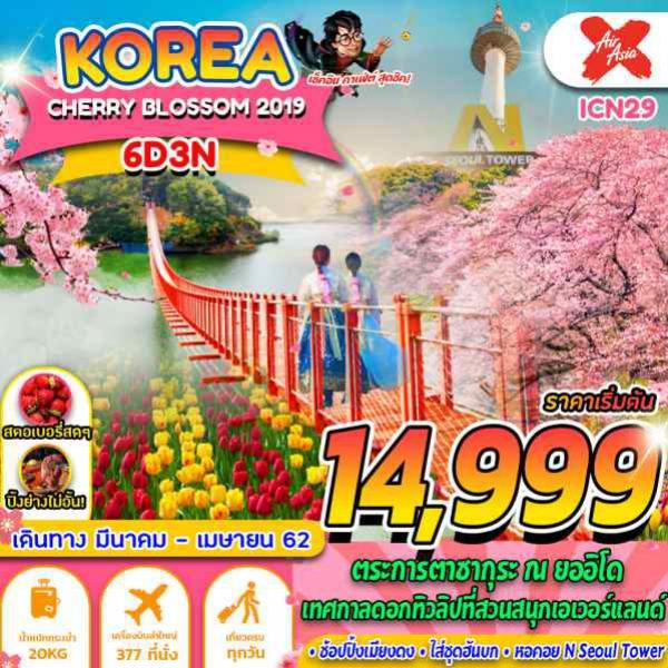 ทัวร์เกาหลี โซล พาจู ชุนชอน เกาะนามิ ไร่สตรอเบอร์รี่  สวนสนุกเอเวอร์แลนด์ วัดบงอึนซา เมียงดง ฮงแด 6 วัน 3 คืน โดยสายการบิน Air Asia X (XJ)