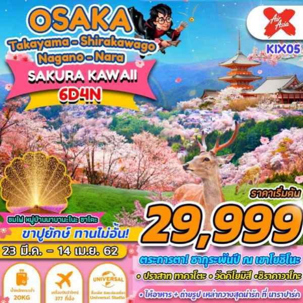 ทัวร์ญี่ปุ่น โอซาก้า ชินไซบาชิ วัดเท็นโนจิ นากาโนะ ทาคายาม่า หมู่บ้านชิราคาวาโกะ ปราสาททาคาโตะ สวนกวางนารา 6 วัน 4 คืน โดยสายการบิน Air Asia X (XJ)
