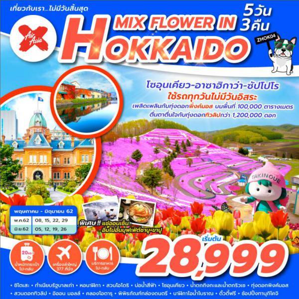 ญี่ปุ่น ฮอกไกโด ซัปโปโร ทุ่งดอกพิงค์มอส สวนโอโดริ บ่อน้ำสีฟ้า คลองโอตารุ น้ำตกกิงกะ 5 วัน 3 คืน โดยสายการบิน Air Asia X (XJ)