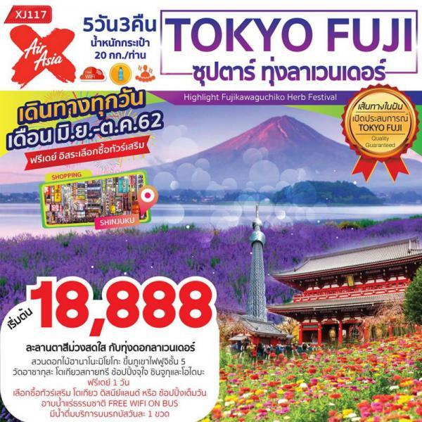 ทัวร์ญี่ปุ่น โตเกียว ฟูจิ สวนดอกไม้ฮานาโนะมิโยโกะ ภูเขาไฟฟูจิ วัดอาซากุสะ โตเกียวสกายทรี ชินจูกุและโอไดบะ 5 วัน 3 คืนโดยสายการบิน AIR ASIA X (XJ)