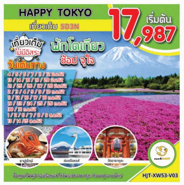 ทัวร์ญี่ปุ่น พักโตเกียว ช้อปจุใจ ขึ้นภูเขาไฟฟูจิ ล่องเรือหงส์ ไหว้พระวัดอาซากุสะ กินขาปู อาบน้ำแร่ 5 วัน 3 คืน โดยสายการบิน Nok Scoot (XW)