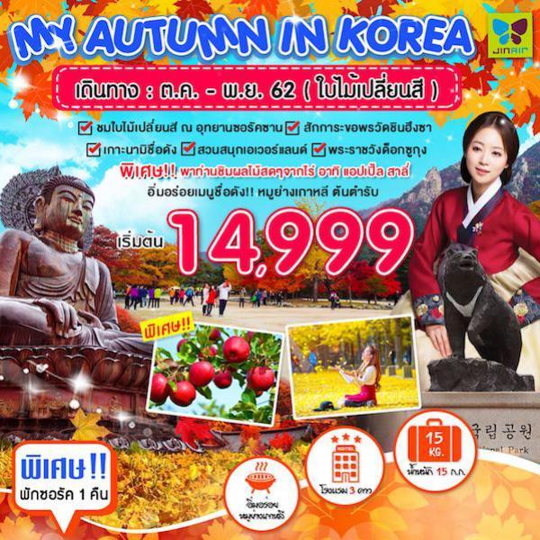 ทัวร์เกาหลี ชมใบไม้เปลี่ยนสี อุทยานซอรัคซาน วัดชินฮึงซา เกาะนามิ สวนสนุกเอเวอร์แลนด์ พระราชวังด็อกซูกุง 5 วัน  3 คืน โดยสายการบิน JIN AIR (LJ)
