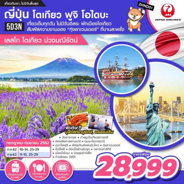 ทัวร์ญี่ปุ่น โตเกียว ฟูจิ โอไดบะ โตเกียวสกายทรี ชมทุ่งลาเวนเดอร์ ล่องเรือทะเลสาบอาชิ 5 วัน 3 คืน โดยสายการบิน JAPAN AIRLINES (JL)