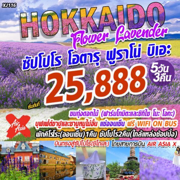 ทัวร์ญี่ปุ่น ฮอกไกโด  ซัปโปโร โอตารุ ฟูราโน่ บิเอะ ชมทุ่งดอกลาเวนเดอร์และดอกไม้ ณ ฟาร์มโทมิตะ 5 วัน 3 คืน โดยสายการบิน Air Asia X (XJ)