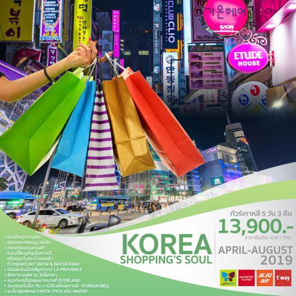 ทัวร์เกาหลี โซล ซูวอน เมืองสีลูกกวาด สวนสนุกเอเวอร์แลนด์ ชมบรรยากาศดอกไม้ไฟ 5 วัน 3 คืน โดยสายการบิน Eastar Jet (ZE) / Jeju Air  (7C) / Jin Air  (LJ) / T'Way Air (TW)
