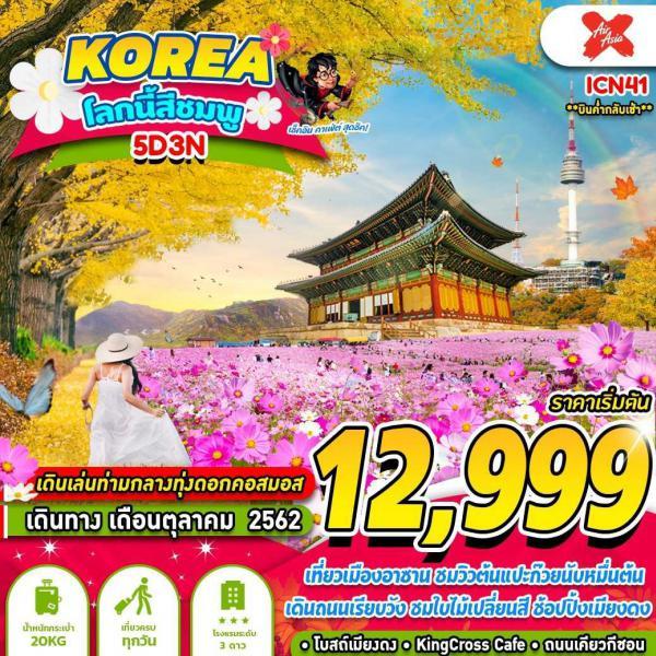 ทัวร์เกาหลี อาซาน ล็อตเต้เวิลด์ ทุ่งดอกคอสมอส โลกนี้สีชมพู 5วัน 3คืน โดยสายการบิน AIR ASIA (XJ)