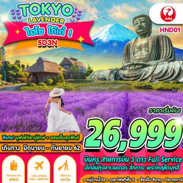 ทัวร์ญี่ปุ่น โตเกียว ฟูจิ โอไดบะ วัดอาซากุซะ หุบเขานรกโอวาคุดานิ ชมทุ่งดอกลาเวนเดอร์ ช้อปปิ้งชินจูกุ ไม่มีอิสระฟรีเดย์ 5 วัน 3 คืน โดยสายการบิน JAPAN AIRLINES (JL)