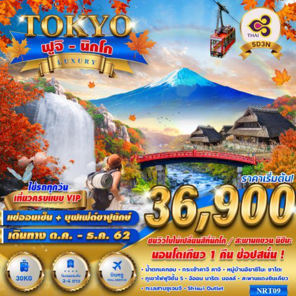 ทัวร์ญี่ปุ่น โตเกียว ฟูจิ นิกโก ชมใบไม้เปลี่ยนสี สะพานแขวนมิชิมะ น้ำตกเคกอน ไม่มีอิสระฟรีเดย์ 5 วัน 3 คืน โดยสายการบิน THAI AIRWAYS (TG)
