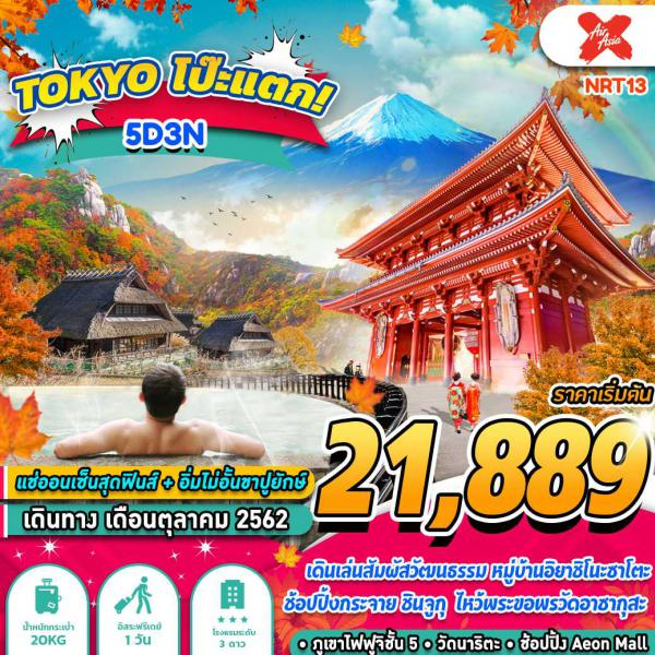 ทัวร์ญี่ปุ่น โตเกียว ภูเขาไฟฟูจิ อิสระฟรีเดย์ 1 วัน 5วัน 3คืน โดยสายการบิน THAI AIR ASIS X (XJ)