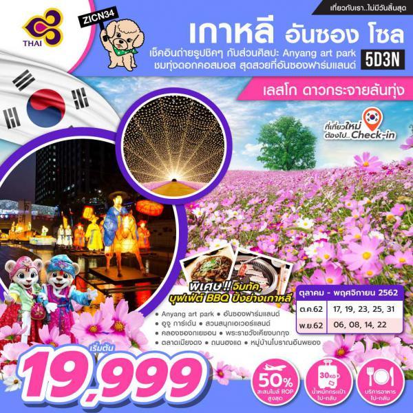 ทัวร์เกาหลี โซล อันซอง ทุ่งดอกคอสมอส อันซองฟาร์มแลนด์ 5วัน 3คืน โดยสายการบิน Thai Airways(TG)
