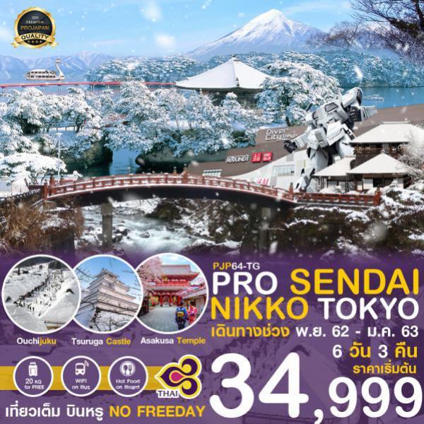 ทัวร์ญี่ปุ่น เซนได นิกโก้ โตเกียว โอไดบะ ไม่มีอิสระฟรีเดย์ 6 วัน 3 คืน โดยสายการบิน THAI AIRWAYS (TG)