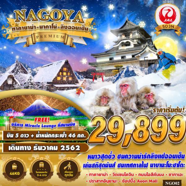 ทัวร์ญี่ปุ่น นาโกย่า ทาคายาม่า นากาโน่ ชมลิงออนเซ็น เล่นสกีสุดมันส์ ไม่มีอิสระฟรีเดย์ 5 วัน 3 คืน โดยสายการบิน JAPAN AIRLINE (JL)