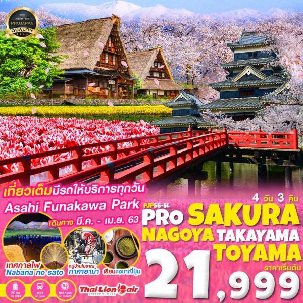 ทัวร์ญี่ปุ่น นาโกย่า ทาคายาม่า ชมซากุระสวนอาซาฮี เทศกาลไฟ เที่ยวเต็มอิ่มไม่มีอิสระฟรีเดย์ 4วัน 3คืน โดยสายการบิน THAI LION AIR(SL)