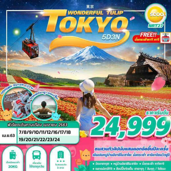 ทัวร์ญี่ปุ่น โตเกียว ชมสวนทิวลิปที่จัดปีละครั้ง ชมวิวฟูจิ แช่ออนเซน ไหว้พระวัดอาซากุสะ ไม่มีฟรีเดย์ 5วัน3คืน โดยสายการบิน SCOOT (TR)