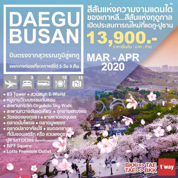 ทัวร์เกาหลีใต้ แดกู ปูซาน หมู่บ้านวัฒนธรรมกัมซอน สะพานกระจก ORYUKDO SKY WALK สะพานกวางอันแดเคียว อุทยานแทจงแด วัดแฮดงยงกุงซา 5วัน 3คืน โดยสายการบิน T'WAY AIR (TW)