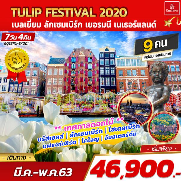 TULIP FESTIVAL 2020 เบลเยี่ยม ลักเซมเบิร์ก เยอรมนี เนเธอร์แลนด์  7 วัน 4 คืน โดยสายการบินเอมิเรตส์ [EK]