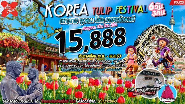 ทัวร์เกาหลีใต้ โซล ซูวอน เกาะนามิ สวนศิลปะอันยาง สวนสนุกเอเวอร์แลนด์ เคียงบกกุง ทงแดมุน เมียงดง ฮงแด 6 วัน 3 คืน โดยสารการบิน AirAsia X (XJ)