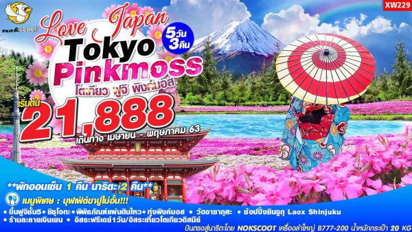 ทัวร์ญี่ปุ่น โตเกียว ฟูจิ พิงค์มอส ชมพิพิธภัณฑ์แผ่นดินไหว ชมความงามทุ่งพิงค์มอส วัดอาซากุสะ อิสระฟรีเดย์ 1 วัน 5วัน 3คืน โดยสายการบิน NOKSCOOT AIR (XW)